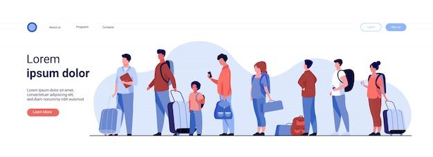 Grupo de turistas con equipaje en fila vector gratuito