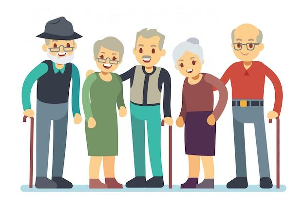 Grupo de viejos personajes de dibujos animados. amigos mayores felices vector illustration Vector Premium