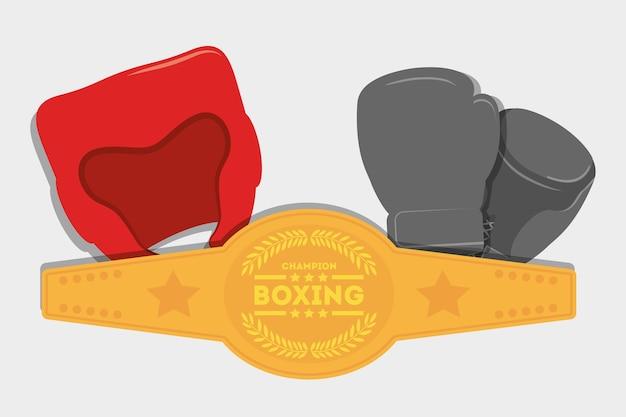 Guante cinturón cinturón boxeo deporte icono de entrenamiento Vector Premium