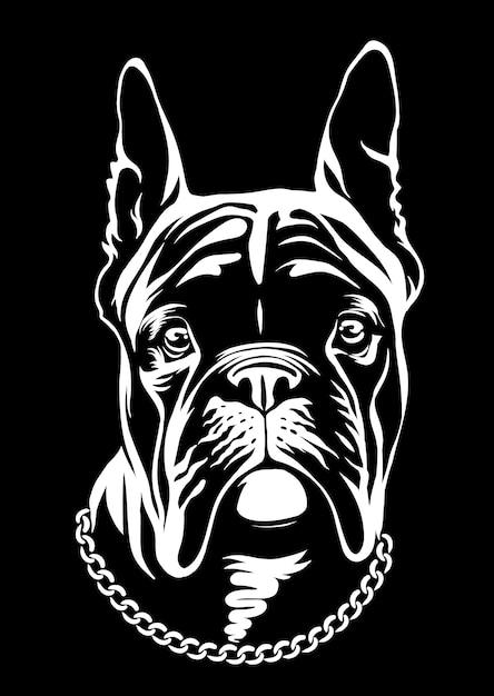 Guapo bulldog francés negro. esta es la serie frenchie en estilo black white. Vector Premium