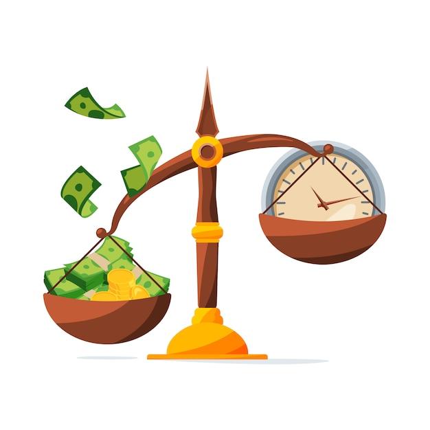 Guarda tu dinero. reloj y dinero en escalas. concepto de inversión Vector Premium