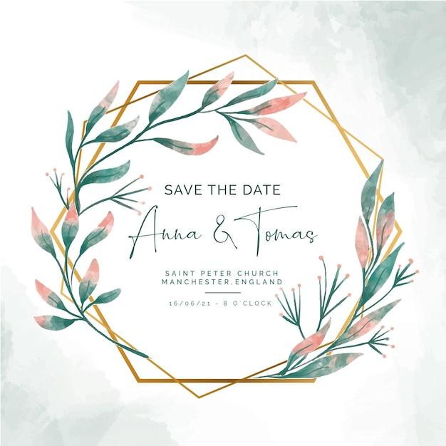 Guardar la fecha de invitación con elegante marco dorado vector gratuito