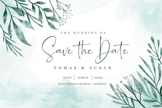 Guardar la fecha de invitación con hojas elegantes vector gratuito