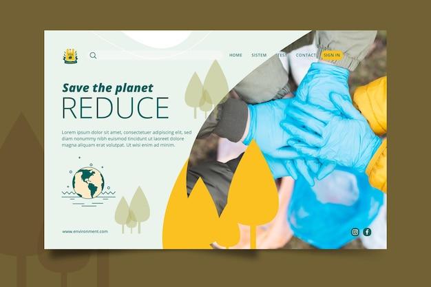 Guardar la plantilla de página de destino del medio ambiente del planeta Vector Premium