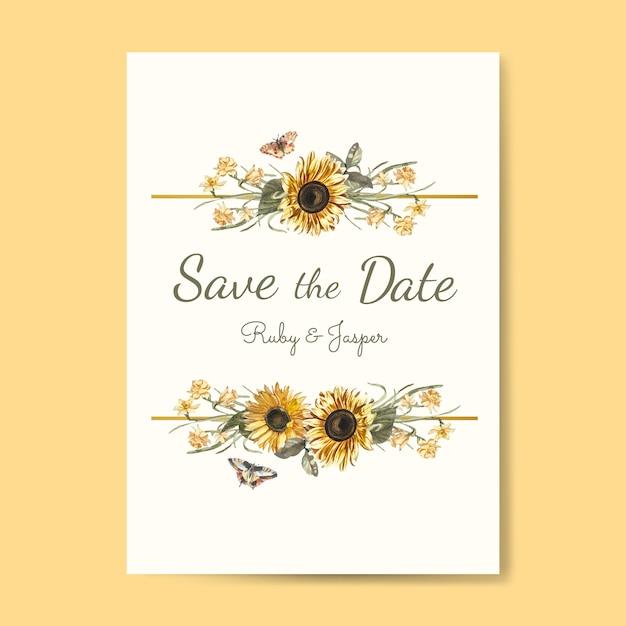 Guardar el vector de maqueta de invitación de boda de fecha vector gratuito
