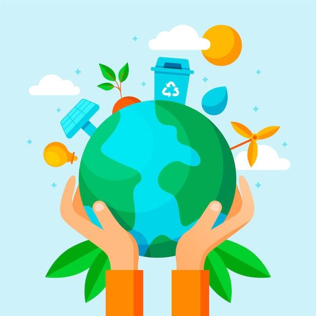 Guarde el diseño de ilustración del planeta vector gratuito