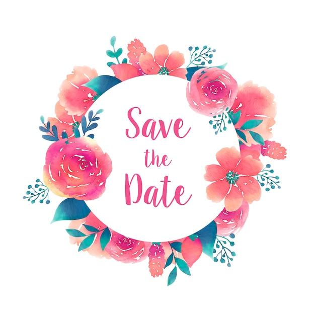 Guarde el marco redondo de la fecha con el elemento de flores acuarela vector gratuito