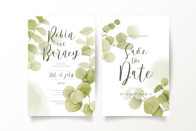 Guarde las plantillas de invitación de fecha con hojas de eucalipto vector gratuito