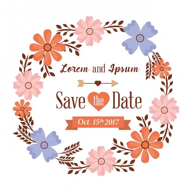 Guarde la tarjeta de fecha con flores vector gratuito
