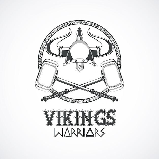 Guerreros vikingos camiseta impresa vector gratuito