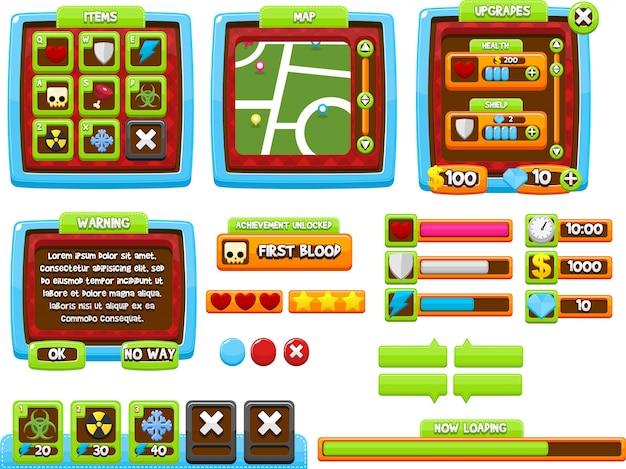 Gui colorido juego Vector Premium