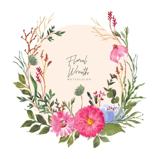 Guirnalda de acuarela hermoso jardín floral Vector Premium