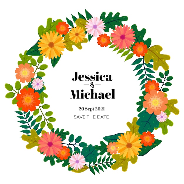 Guirnalda de la boda floral vector gratuito