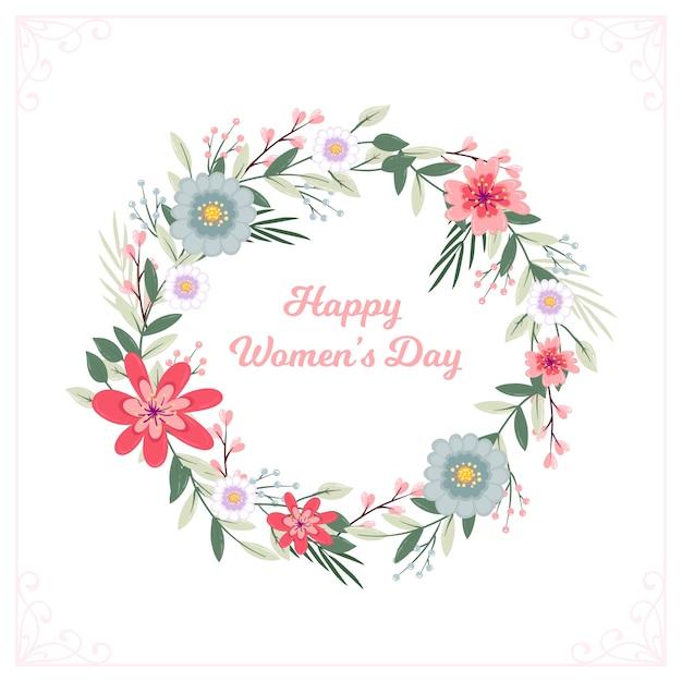 Guirnalda floral feliz día de la mujer vector gratuito