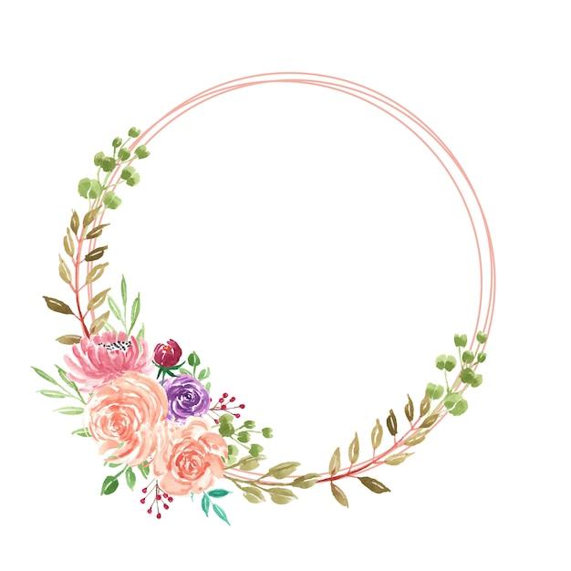Guirnalda de flores hermoso verano acuarela Vector Premium
