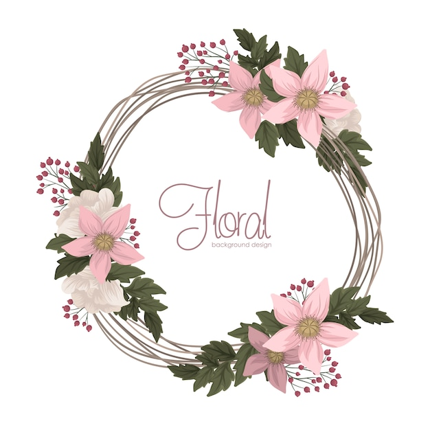 Guirnalda de flores rosadas vector gratuito