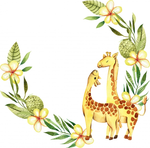 Guirnalda con lindas jirafas acuarelas. Vector Premium