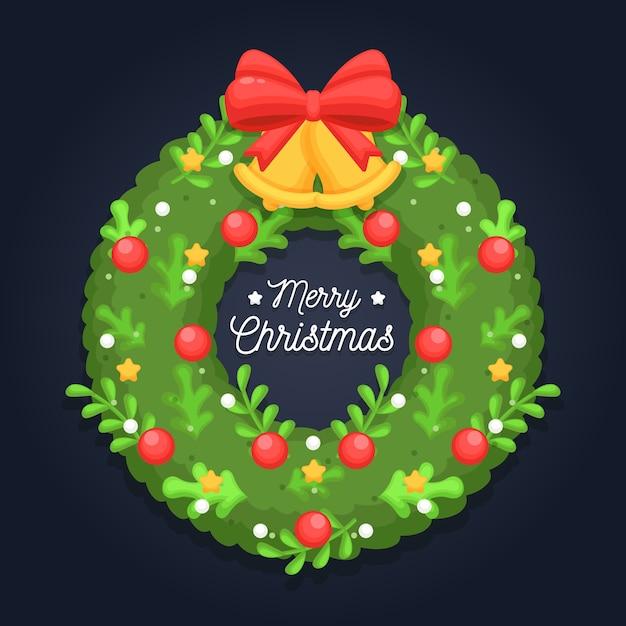 Guirnalda de navidad plana con saludo vector gratuito