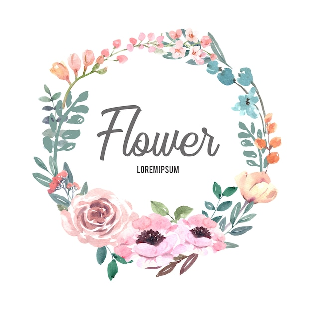 Guirnalda para obras de arte creativas, flores de línea pastel vector gratuito