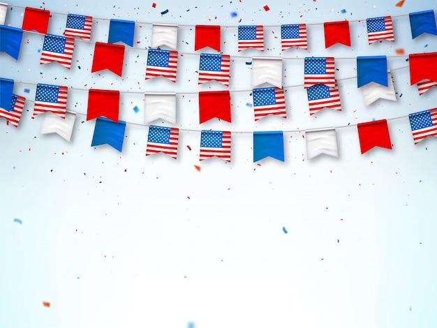 Guirnaldas de banderas de estados unidos. banner para celebrar fiestas nacionales Vector Premium