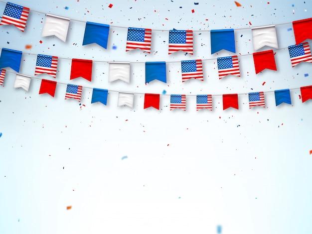 Guirnaldas de banderas de estados unidos. banner para celebrar Vector Premium