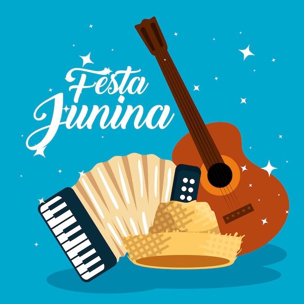 Guitarra con acordeón y sombrero para festa junina Vector Premium