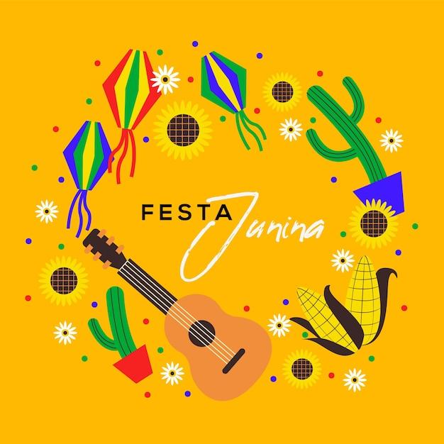 Guitarra y cactus diseño plano festa junina vector gratuito