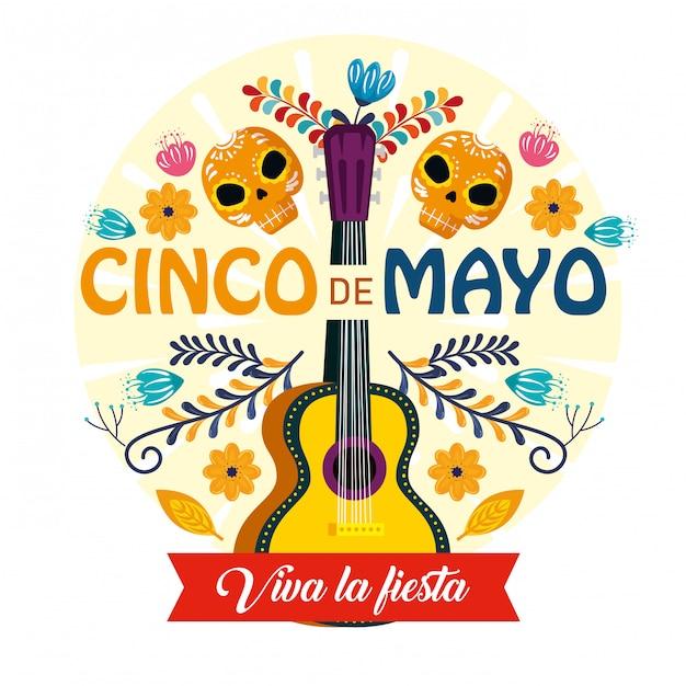 Guitarra con calaveras decoradas y flores para evento mexicano vector gratuito