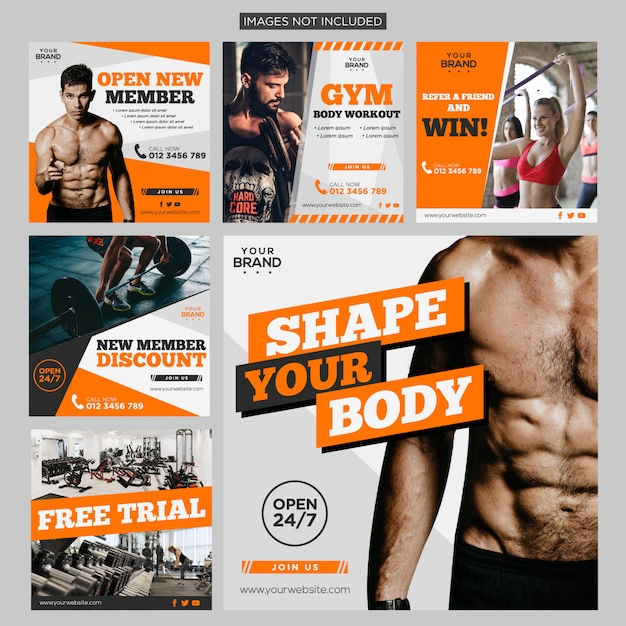 Gym sport fitness publicación en redes sociales paquete plantilla de diseño premium Vector Premium