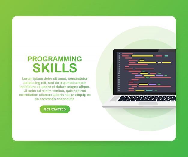 Habilidades de programación para el sitio web y la plantilla móvil Vector Premium