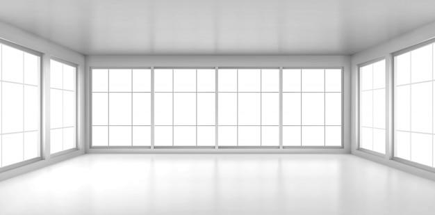 Habitación blanca vacía con grandes ventanales vector gratuito