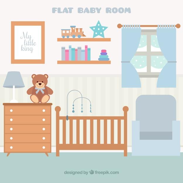 Habitación de bebé plana con muebles de madera y ventana | Descargar ...