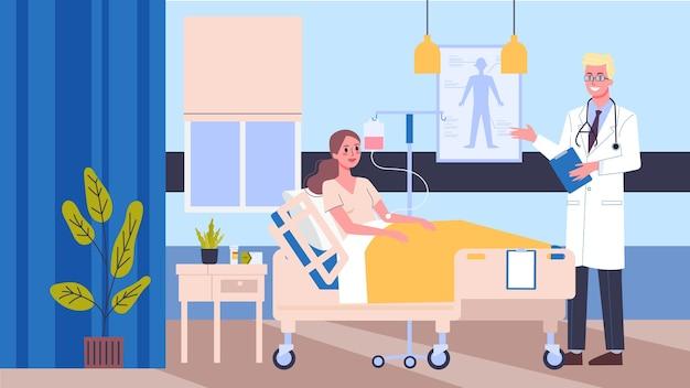 Habitación de hospital de ilustración. médico y enfermera que controlan a los pacientes. concepto de atención médica. Vector Premium
