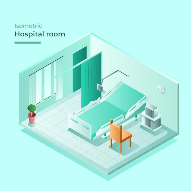 Habitación de hospital isométrica con cama y silla de visita vector gratuito