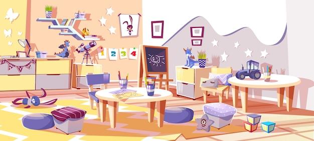 Habitación infantil de guardería o ilustración interior de jardín de infancia en un acogedor estilo escandinavo. vector gratuito