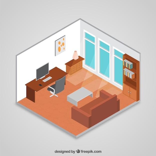 Habitaci n isom trica 3d descargar vectores gratis for Planificador habitacion 3d