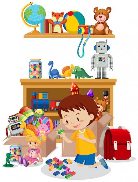 Habitación con niño jugando juguetes en el piso vector gratuito