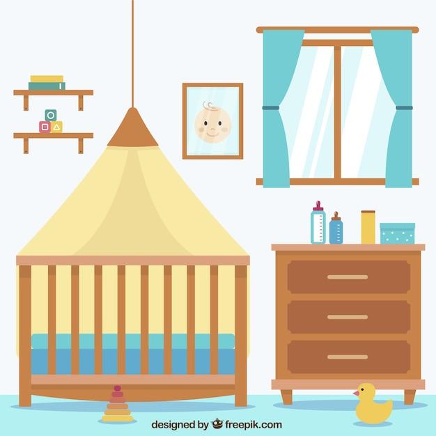 Habitaci n plana para beb con ventana y muebles marrones for Cuarto ordenado animado