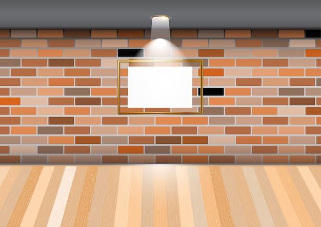 Habitación vacía con marco en blanco en la pared de ladrillo en la ...
