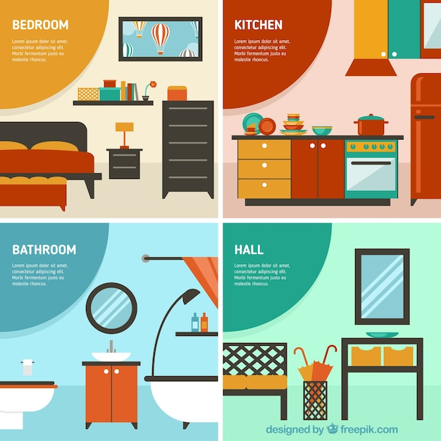 habitaciones en casa descargar vectores gratis On habitaciones de una casa