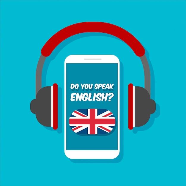 Hablas Inglés Concepto Aprender En Línea Smartphone Con Vista Frontal De Auriculares Bandera De Gran Bretaña En Una Pantalla De Teléfono Vector Premium
