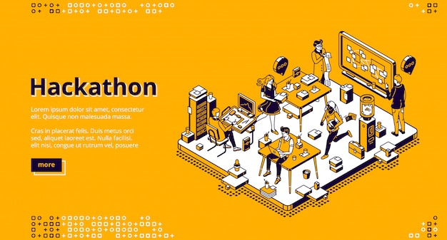 Hackathon aterrizaje isométrico, desarrollo de software vector gratuito