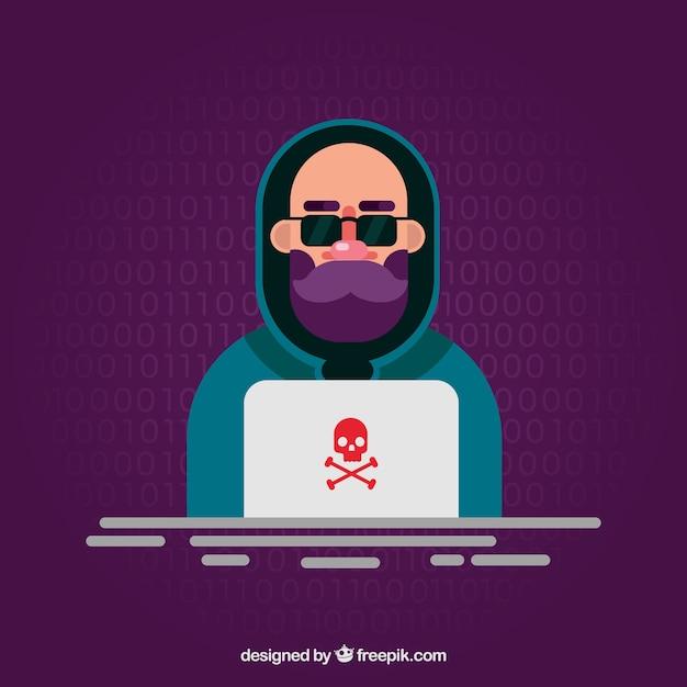 Hacker anónimo con diseño plano vector gratuito