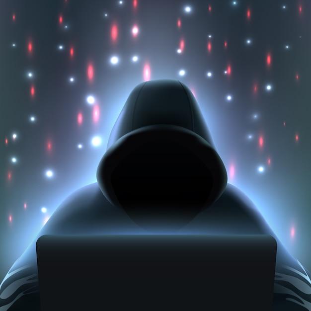 Hacker computadora composición realista vector gratuito