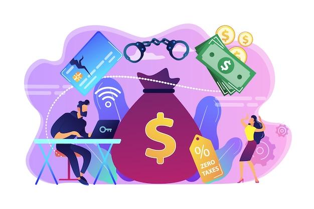 Hacker en una computadora portátil cometiendo fraude financiero y robando una bolsa enorme con dinero. delitos financieros, blanqueo de capitales, concepto de bienes del mercado negro. vector gratuito