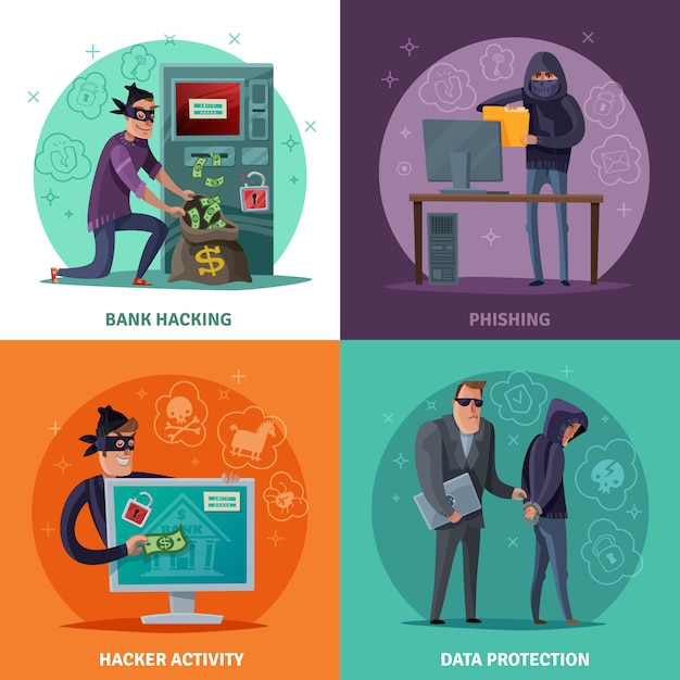 Hacker de dibujos animados vector gratuito