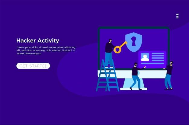 Hacker robar ilustración Vector Premium