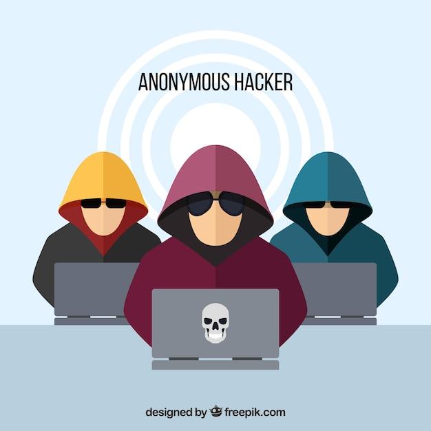 Hackers anónimos con diseño plano vector gratuito