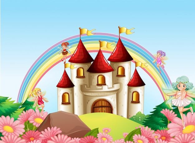 Hada en el castillo medieval vector gratuito