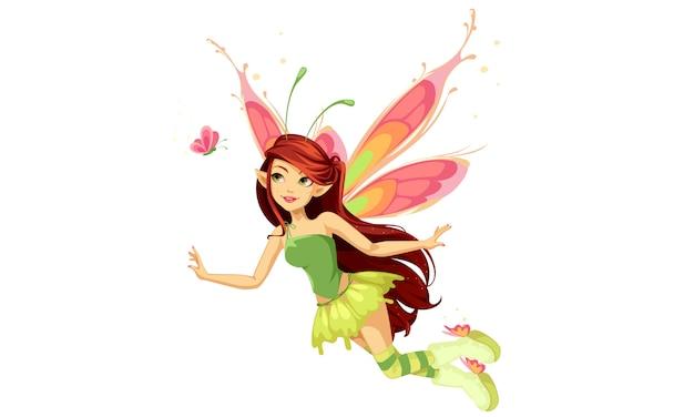 Hada mariposa voladora vector gratuito